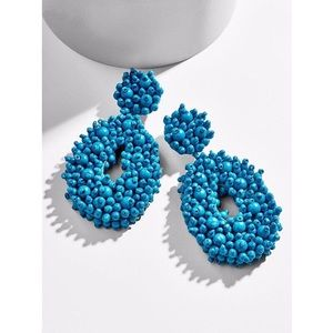 Blue Melayna Beaded Drop Earrings